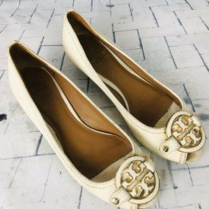 Tory Burch Ivory Mini Miller Open Toe Wedge Shoes